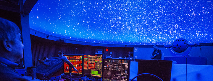 The control booth of the De Anza Planetarium