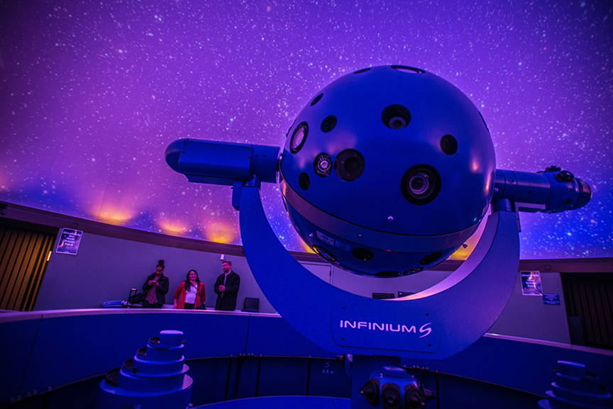 A view of the Planetarium from inside looing at stars from the projector