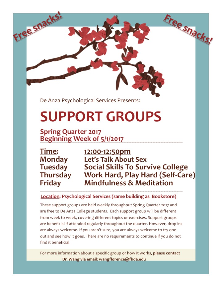Support Groups Monday, Tuesday, Thursday, Friday at 12pm