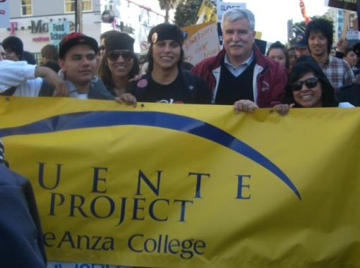 Puente students and De Anza College President at a protest against college budget cuts.