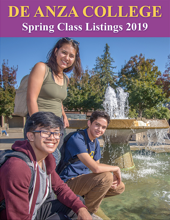 Spring Schedule Cover - students on campus near fountain
