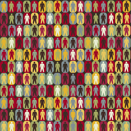 various colored squares with people