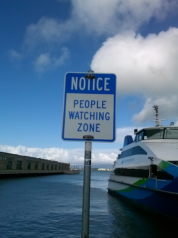 People Watching Zone Sign