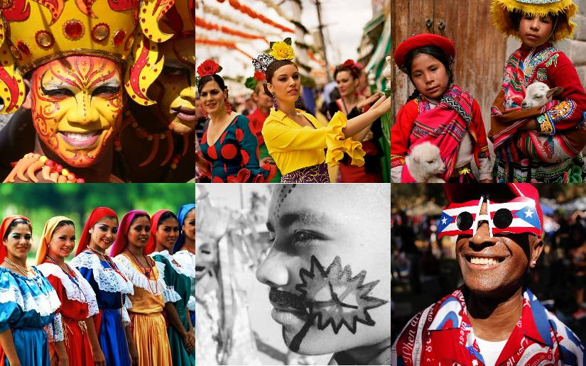 Various images of spanis or hispanic culture