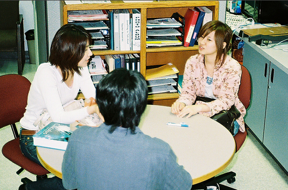 Students at a table