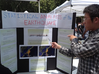 Male student with Japanese earthquake analysis project.