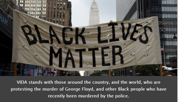 slogan of black lives matter and a supportive message from VIDA