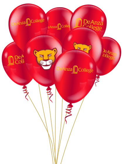 red balloons with De Anza logo and mountain lion